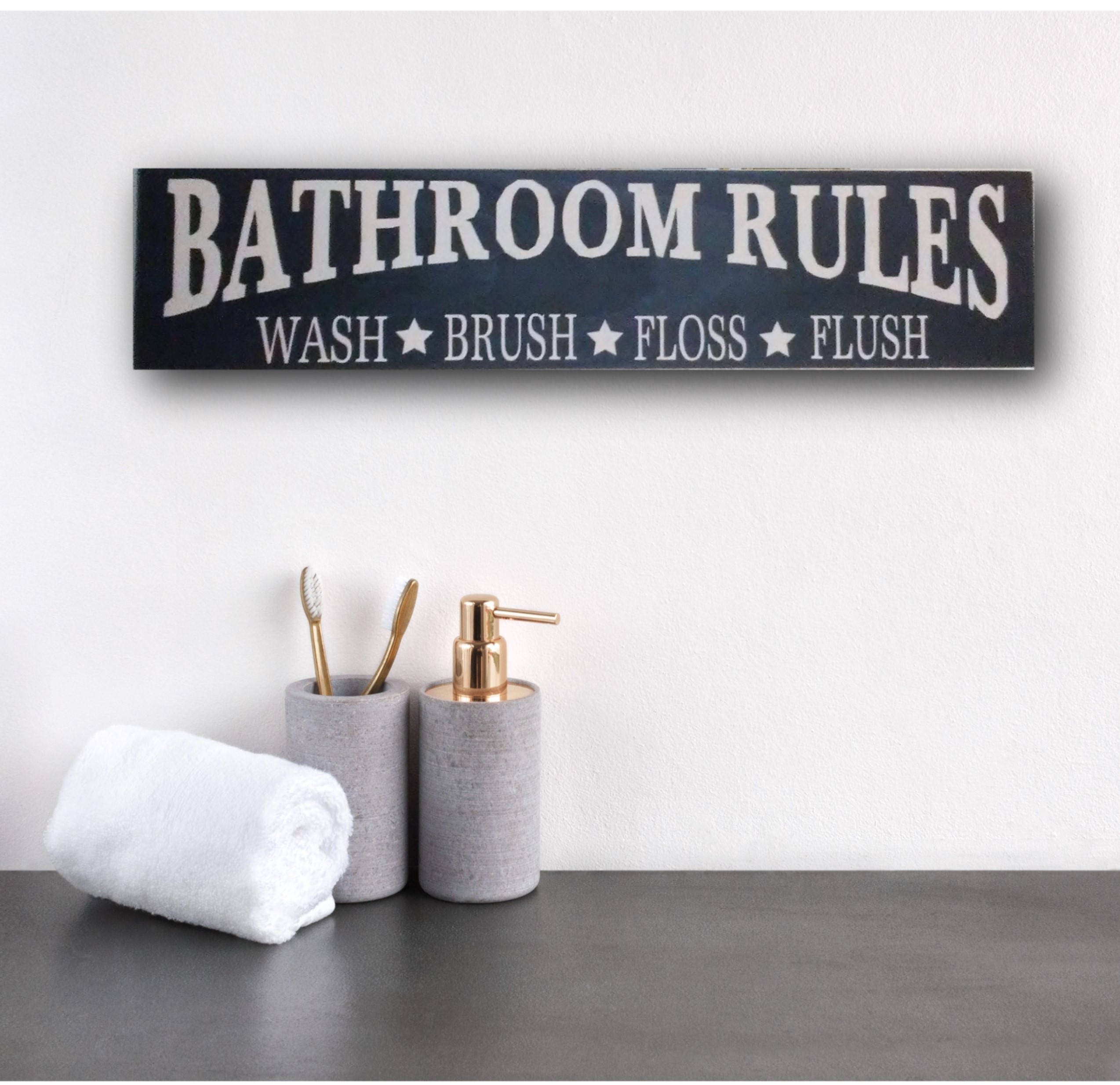 Rustic Bathroom Sign, Rustic Bathroom Rules Sign, Rustic Bathroom Rules  Wall Art, Bathroom Rules Wall Decor, Bathroom, Funny Bathroom Art
