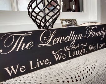 Established Sign, Family Name Signs, Custom Wood Sign, Wooden Name Signs, Housewarming Gift, House Warming Gifts, Anniversary Gift, Wedding