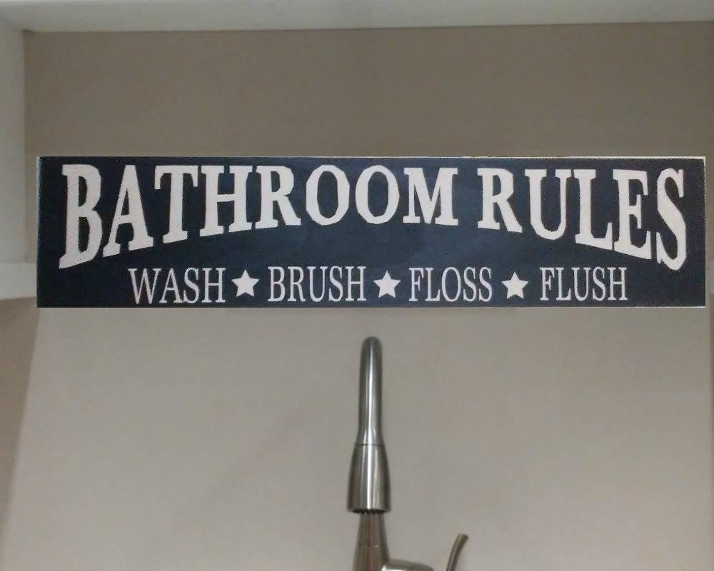 Primitive Sign BATHROOM RULES Wash Brush Floss Flush Rustic Bathroom Hand Painted Decor Wood