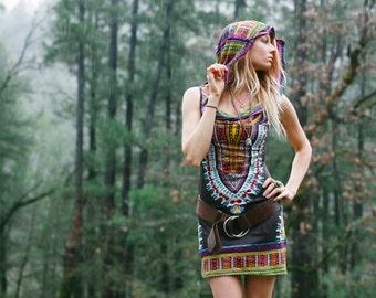 Short Day Tripper Hoodie Dress, Pachamama Brown, Festival Clothing, Hippie, Tribal, Burning Man, Mini Dress