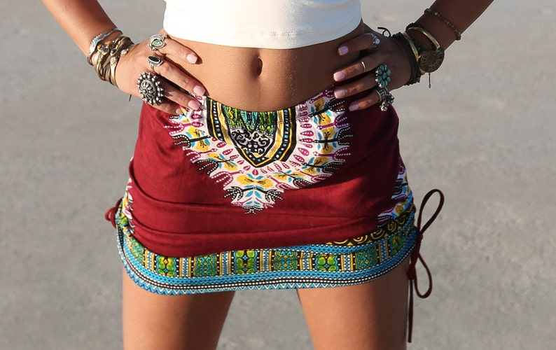 Ox Blood High Tribal Skirt Festival Clothing Gypsy Navajo image 0