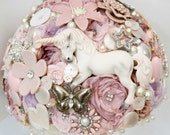 fairytale unicorn, button, bouquet, rhinestone bouquet, whimsical bouquet, Vintage brooch bouquet, floral flower, wedding posy bouquet