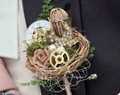 Vintage style, rockabilly, alternative steampunk, birdcage, cogs, birds nest, grooms buttonhole, Wedding corsage, boutonierre