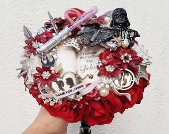 Sci-Fi Star space wars inspired wedding Bouquet, light up light sabers, themed music box, any colour, alternative wedding, brooch bouquet,