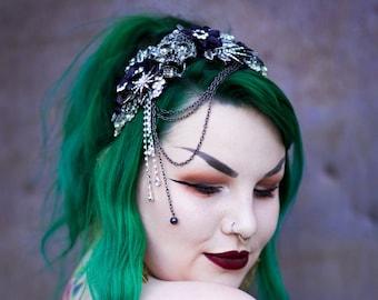Gothic skull headdress, rhinestone skull tiara, skull headband alternative wedding, prom, wedding, gothic headdress, tiara, Made to order