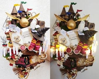 Magical, Wizard, Geek, Nerd, Alternative wedding, cascading bouquet, Handcrank Musical, sound/light, alternative bride bouquet, Any colour