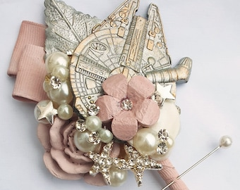 x1 Sci-Fi Star space wars inspired wedding  buttonhole, boutonniere, wedding corsage, sci-fi wedding,