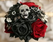 Bridesmaid Skull wedding bouquet, alternative, Ornate handle, brooch bouquet, retro, gothic, wedding flower, posy bouquet, skull wedding