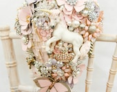 Fairytale unicorn Whimsical alternative Cascading brides brooch bouquet Vintage retro rhinestone button floral flower wedding posy bouquet