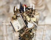 Musical Beauty & The Beast inspired bouquet, with hand crank music, any colour, alternative, brooch bouquet, whimsical bouquet, wedding