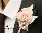X1 Harry Potter Style, golden snitch,  alternative, quirky, buttonhole, boutonnière, Harry Potter wedding, paper flower, corsage shabby chic