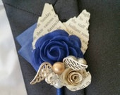 X1 Wizard wedding, fantasy, golden snitch,  alternative, quirky, buttonhole, boutonnière, paper flower, snitch, corsage shabby chic