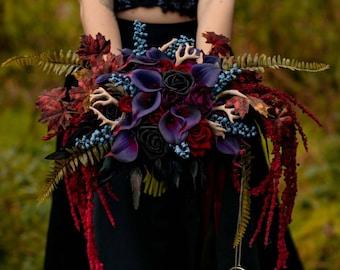 Rose & Calla lily Skull wedding bouquet, alternative, skull handle, alternative bouquet, gothic skull wedding Custom made 14-16 weeks