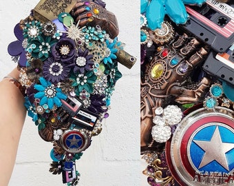 Super Hero Comic bouquet any colour, any theme, any colour alternative, brooch bouquet, whimsical bouquet, wedding
