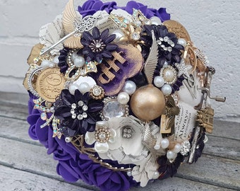 Musical wizard inspired Magical  bouquet, with hand crank music, any colour, alternative, brooch bouquet, whimsical bouquet,  flower wedding