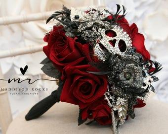 Skull wedding bouquet, alternative, Ornate handle, brooch bouquet, gothic, flower, posy bouquet, skull wedding Custom made 14-16 weeks