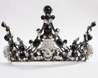Gothic skull crown, gothic headpiece, rhinestone skull tiara, alternative wedding, prom, wedding, gothic headdress, tiara, Made to order