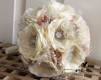 Shabby Chic Style brooch bouquet rhinestone lace and fabric Vintage and retro brooch bridal bouquet floral flower wedding posy bouquet