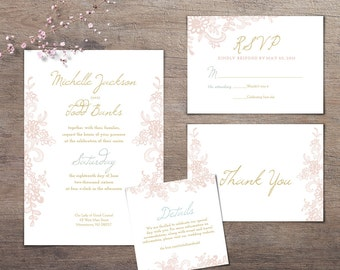 2016 Spring Wedding Invitation Set | Summer Wedding Invitation | Shabby Chic Wedding Set | Gold and Floral Printable Wedding Set