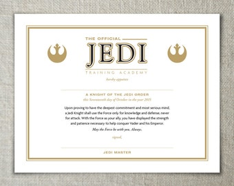 Star Wars Jedi Training Academy Certificate | The Force Awakens Birthday Party | Kids Birthday Party | Star Wars Birthday | Movie Party Idea