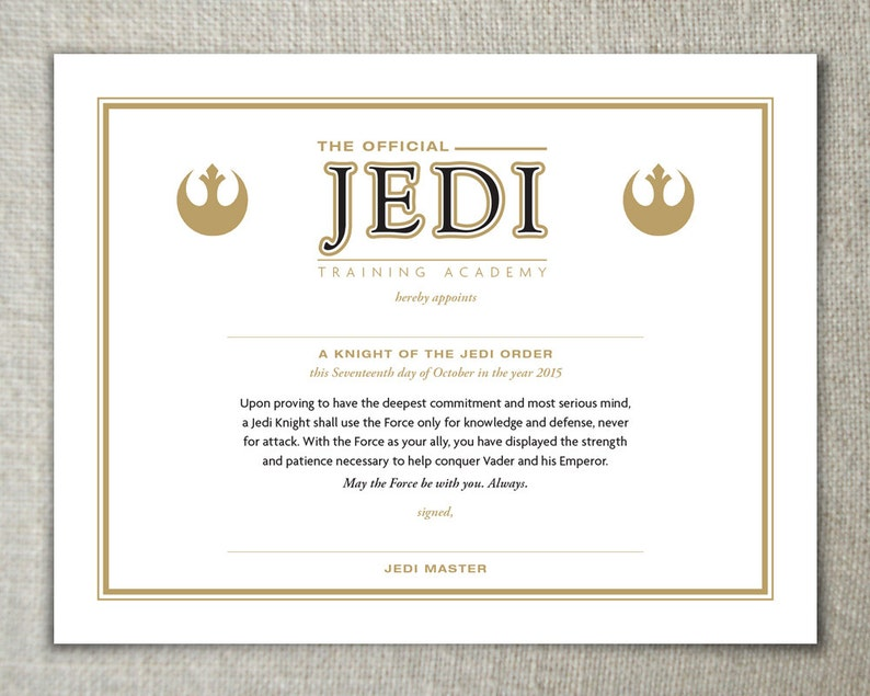 29a7d0589a Star Wars Jedi Training Academy Certificate The Force
