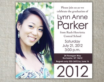 Modern 2015 Graduation Announcement | Square Graduation Party Invitation | Class of 2015 Graduation Announcement