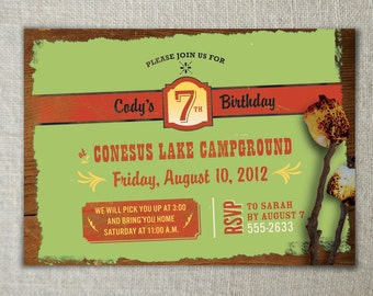 Camping invitation | Nature birthday invitation | Kids camping birthday party