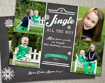 Blackboard Christmas Photo Card | Chalkboard Holiday Photo Card | Christmas Photo Card Collage | Multiple Photos | Custom Colors