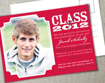 Classic photo graduation announcement | Graduation party invitation | Class of 2015 announcement