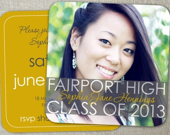 Square Mustard Yellow Graduation Announcement | 2015 Graduation Invitation | Square or Rounded Corners | Modern Graduation Photo Card
