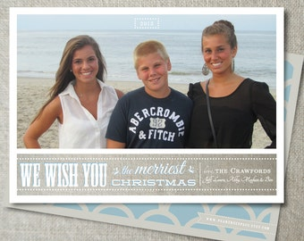 Beach Christmas photo card | Modern Christmas photo card | Coastal Christmas photo card |Shabby Chic holiday card