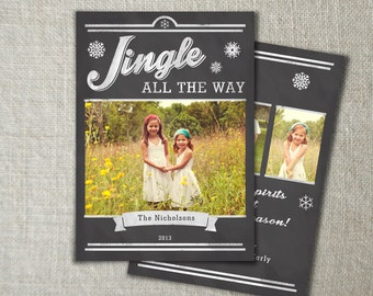 Chalkboard Christmas Photo Card | Jingle All the Way Christmas | Holiday Photo Card | Chalkboard Design