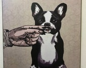 Boston Terrier Art Print Decoupaged on Wood