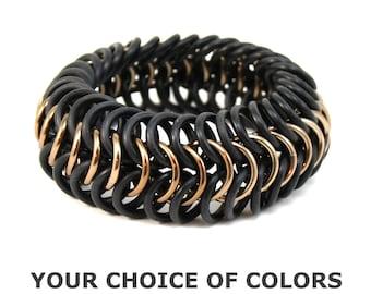 Custom Cuff Bracelet -  Chainmail Rubber Metal Stretch Bracelet for Men Women