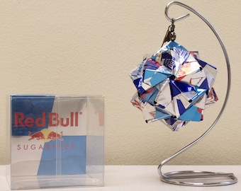 Red Bull & Sugar Free Drink Can Origami Ornament  //  Upcycled Recycled Repurposed Art  //  handmade gift  //  christmas ornaments