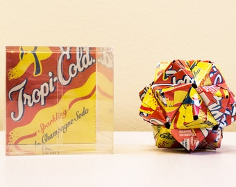 Tropi-Cola Origami Ornament.  Upcycled Recycled Repurposed Can Art.
