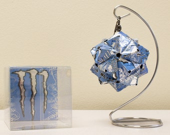 Monster Energy Ultra Blue Drink Can Origami Ornament  //  Upcycled Recycled Repurposed Art  // gift for him // Weird Valentines Day Gift