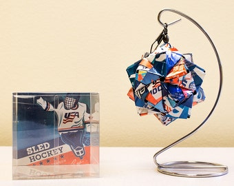 Labatt Blue Sled Hockey Origami Ornament.  Upcycled Recycled Repurposed Can Art.