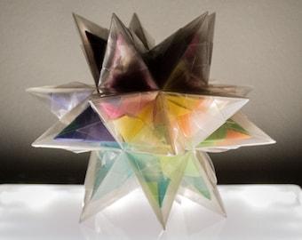 """Origami Star-within-a-Star / Nested Origami / Plastic-shrouded Rainbow Star / Double Rainbow / 3D Prism / 8"""" Crystal Star / Nursery Decor"""
