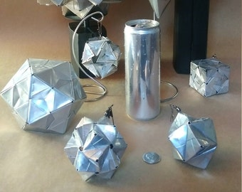 Recycled Can Origami Polyhedra // Upcycled Can Art // Sonobe Kusudama // Unique Statement Piece // Contemporary Design Accent // Modern Loft