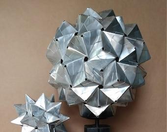 "12"" Recycled Can Origami // 120 Unit Sonobe Kusudama // Unique Statement Piece // Contemporary Design Accent // Modern Loft Art // Geodesic"