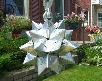 Outdoor Indoor Hanging Metal Origami Star // Contemporary Design Touch // Unique Handmade Statement Piece // 10in