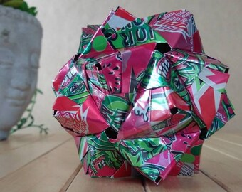 Recycled Origami Can Art // Mountain Dew MAJOR MELON // Watermelon // Pink & Green