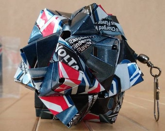 Origami Ball Can Art, Hand-folded from Recycled MOUNTAIN DEW VOLTAGE Cans