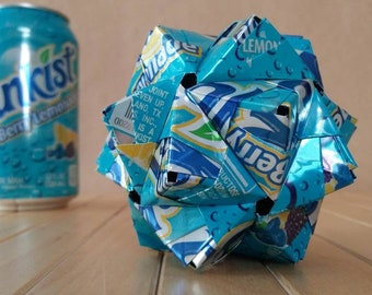 Origami Ball Can Art, Hand-folded from Recycled SUNKIST BERRY LEMONADE Cans