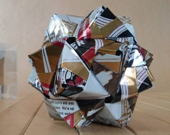 Recycled Can Art Origami // ATWATER LAGER Beer Cans // Upcycled Recycled Repurposed // Heavy Duty // 3 Inches // Detroit Michigan