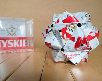 Recycled Can Art Origami // TYSKIE // Made in Poland // Upcycled Recycled Repurposed // Heavy Duty // 3 Inches // Gronie // 1629