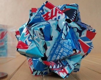 Can Art Origami // Mountain Dew FROST BITE // 30 Unit Sonobe Kusudama // Recycled Gift // Magical Accent // STEM kids room