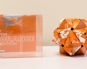 Red Bull Orange Drink Can Origami Ornament  //  Upcycled Recycled Repurposed Art  //  handmade gift // Christmas Ornament // weird gifts