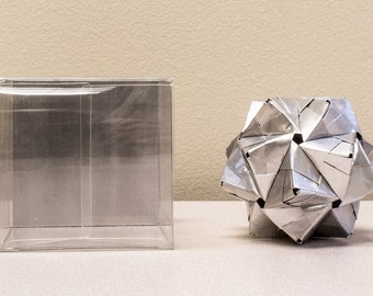 Aluminum Can Origami Ornament  // Upcycled Recycled Repurposed Art // handmade  // industrial decor  // Valentines Day // weird gifts //